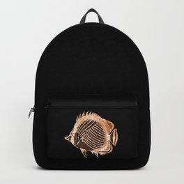 Fish nautical coastal in black background Backpack