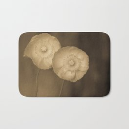 Twins -- Sepia Poppy Flowers Bath Mat