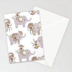Monkey and elephant Stationery Cards