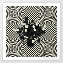 Chessboard and 3D Chess Pieces composition Art Print