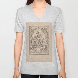 Vintage Print - Giuseppe Mitelli - Allegory of the lightness of existence (1702) Unisex V-Neck