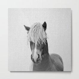 Horse - Black & White Metal Print