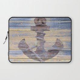 Rusty Anchor Grey Blue Beach Lake House Coastal Home Decor A177 Laptop Sleeve