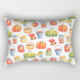 Autumn Kitchen Pattern with Pumpkin, Apple Basket, Mushroom and Preserves in Jar Rectangular Pillow
