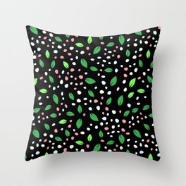 Spearmint Green Leaves Pattern With Pink & White Petals Throw Pillow