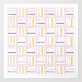 Stripes×Checkered Pattern_Pink&Mint Green Art Print