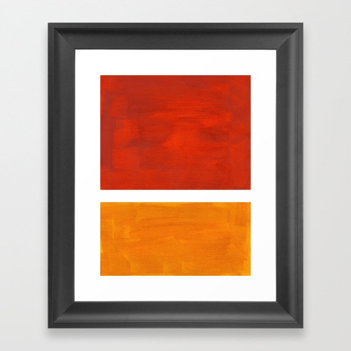 Burnt Orange Yellow Ochre Mid Century Modern Abstract Minimalist Rothko Color Field Squares Gerahmter Kunstdruck