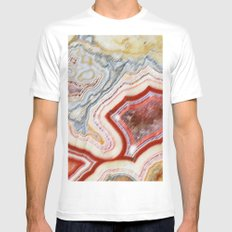Marble Red MEDIUM White Mens Fitted Tee