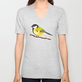 Cute Little Yellow Bird Parus Major Cartoon Illustration On Blue Unisex V-Neck