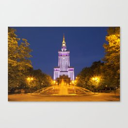 Palace of Culture and Science in Warsaw, Poland at night Canvas Print