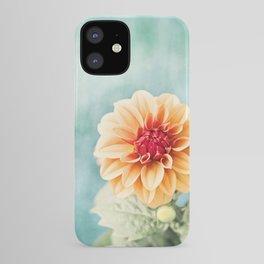 Aqua Orange Dahlia Flower Photography, Turquoise Teal Peach Nature Art iPhone Case