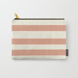 Earthen Trail Pink 4-26 Hand Drawn Fat Horizontal Lines on Dover White 33-6 Carry-All Pouch