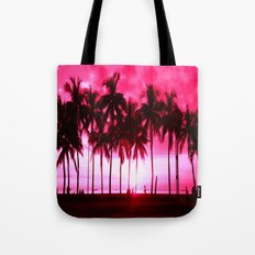 Pink Summer Palm Trees Tote Bag