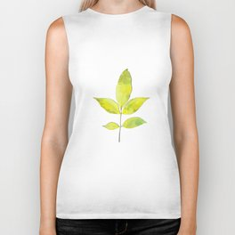 leaves painted with watercolor . designer paintings for eco-style . eco style interior . Sustainable Biker Tank