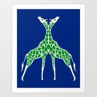 Giraffe Lovers - Green Art Print