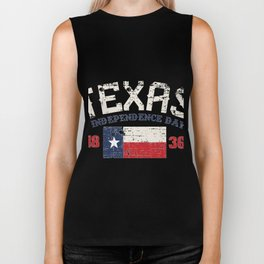 Texas Independence Day 1836 Distressed Look Biker Tank