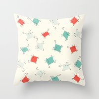 tape Throw Pillows featuring Tape cats by Kitten Rain