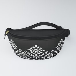Damask Baroque Part Pattern White on Black Fanny Pack