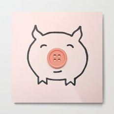 Button Pig Metal Print