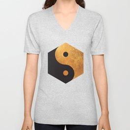 Yin Yang Geometrical Zen Meditation Yoga Gold Black Balance Minimalist   Unisex V-Neck