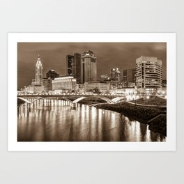 Downtown Columbus Ohio Night Skyline - Sepia Cityscape Art Print