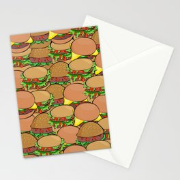burger meat sandwich bread Stationery Cards