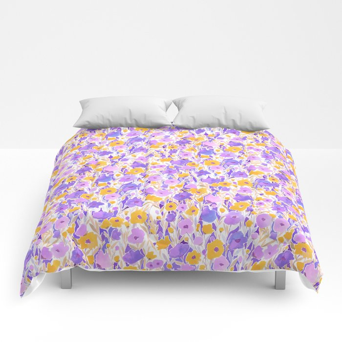 Flower Field Yellow Lilac Comforters