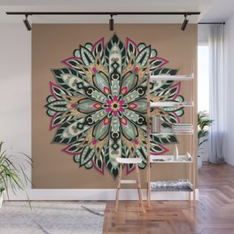 Tribal Geometric brown and green Mandala Wall Mural