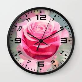Elegant pink rose Wall Clock