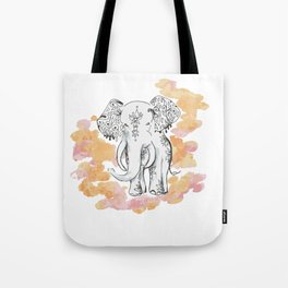 Elephant Travels- Frolics to family Tote Bag