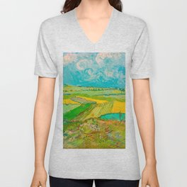 Wheat Fields after the Rain (The Plain of Auvers), July 1890 Oil Painting by Vincent van Gogh Unisex V-Neck
