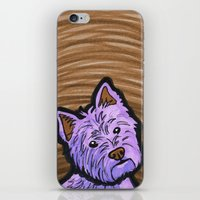 westie iPhone & iPod Skins featuring Purple Westie by Gianna Brucato