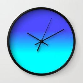 Neon Blue and Bright Neon Aqua Ombré Shade Color Fade Wall Clock