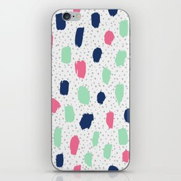 Pink blue brush strokes pattern iPhone Skin
