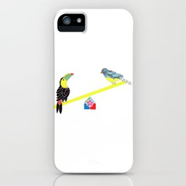 Birds on a seesaw iPhone Case