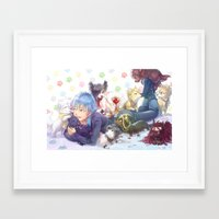 dramatical murder Framed Art Prints featuring Dramatical Dogs by hasu