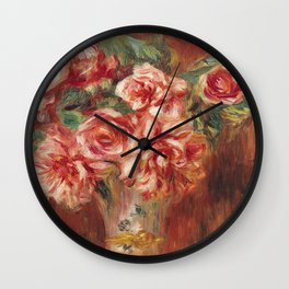 Auguste Renoir - Roses in a Vase Wall Clock