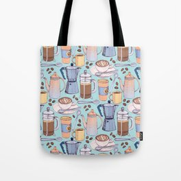 Coffee Love on Blue Tote Bag