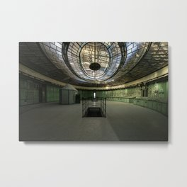 Art Deco Control Room inside of an abandoned power station Metal Print