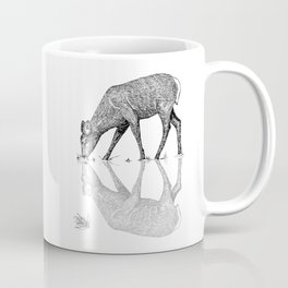 Black & White Line Work Animal Reflection Vector Coffee Mug