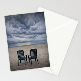 Sunrise on the Beach with Two Chairs at Oscoda Michigan Stationery Cards