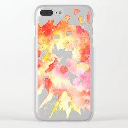 Orange Watercolor Color Splash Splatter Clear iPhone Case