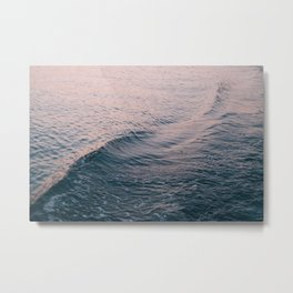 Pink Sunset Waves Metal Print