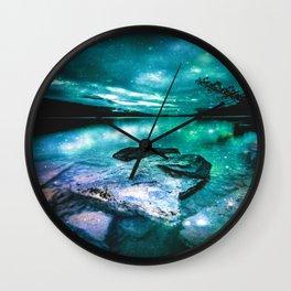 Magical Mountain Lake Mint Green Lavender Wall Clock