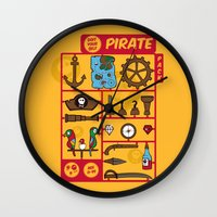 kit king Wall Clocks featuring pirate kit by blablasah
