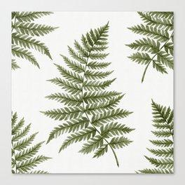 Dark green watercolor fern pattern Canvas Print