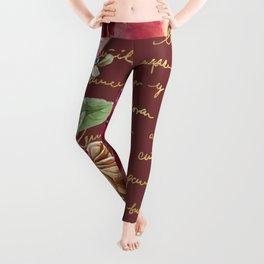 Elegant Christmas - burgundy rose Leggings