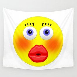 Smiley Embarrassed Kissing Girl Wall Tapestry