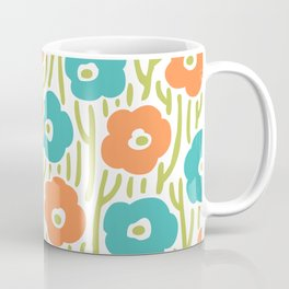 Mid Century Modern Wild Flowers Turquoise and Orange 391 Coffee Mug