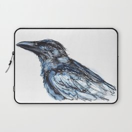 Crow with Blue Laptop Sleeve